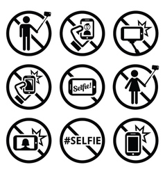 No selfies no selfie sticks signs vector