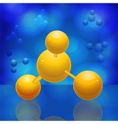 Yellow 3d molecule reflected on a blue glossy surf vector