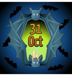 Greeting card for halloween with bat vector