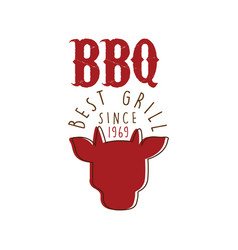 Bbq best grill since 1969 logo template hand drawn vector