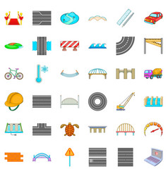 Bridge icons set cartoon style vector