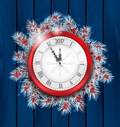 Christmas Fir Twigs with Clock for 2017 New Year vector image