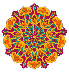 color mandala ethnic pattern round symmetrical vector image vector image