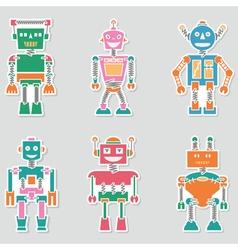 Colorful bright cute retro robots stickers set vector image vector image