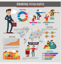 Colorful smoking infographic concept vector