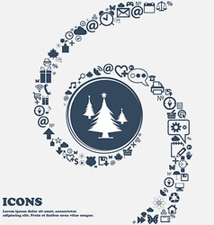 coniferous forest tree fir-tree sign icon in the vector image