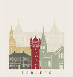 Esbjerg skyline poster vector