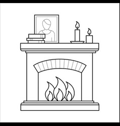 Fireplace in thin line style vector