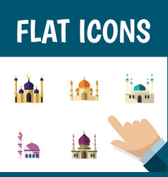 flat icon building set of architecture vector image