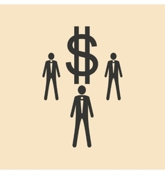 Flat in black white people and dollar vector