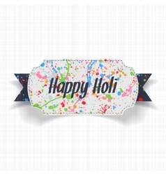 Happy Holi white Banner with blue Ribbon vector image