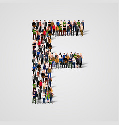 large group of people in letter f form vector image vector image