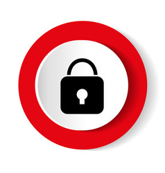 Lock icon red glossy circle web icon on white vector