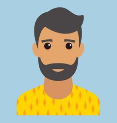 Man portrait beard modern avatar flat design vector