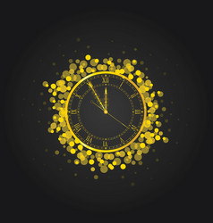 New year clock in gold vector