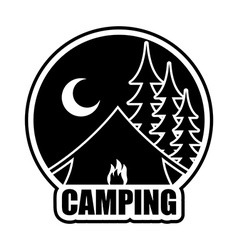 Night camping logo emblem for accommodation camp vector