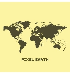 Pixel art isolated earth map vector