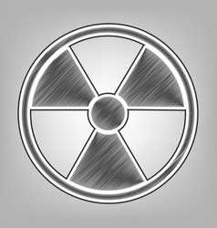 Radiation round sign pencil sketch vector