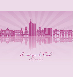 Santiago de cali skyline in purple radiant orchid vector