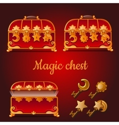 Set of magical red chests and golden keys vector