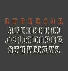 Slab serif contour font in the style of hand drawn vector