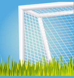 Soccer goal with grass icon vector