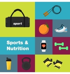Sports and nutrition icons set vector image