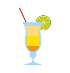 Tropical cocktail with lime garnish icon image vector