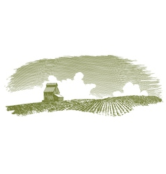 Vintage Grain Elevator Landscape vector image vector image