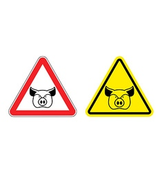 Warning sign pork attention Dangers yellow sign vector image vector image