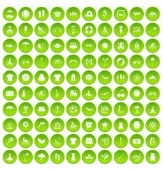 100 summer icons set green circle vector