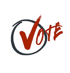 Vote typography Grunge red check mark in hand vector image