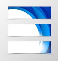Set of header banner dynamic design with blue vector