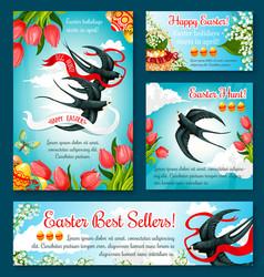 Easter egg hunt banner template of flower and bird vector