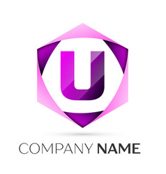 letter u symbol in the colorful hexagonal vector image