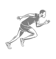 Silhouette of isolated running male on white vector