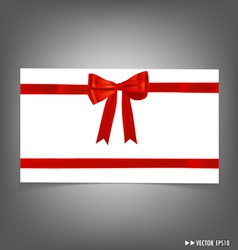 Card with red ribbons bows vector