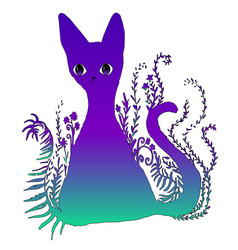 Design is a bright colorful surreal surreal cat vector