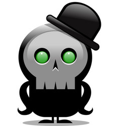 Creepy cartoon skull character with bowler hat vector