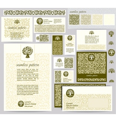 Identity template with leaf seamless pattern vector image
