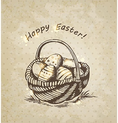vintage background with Easter basket vector image