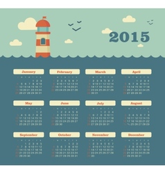 Marine calendar 2015 year with lighthouse vector