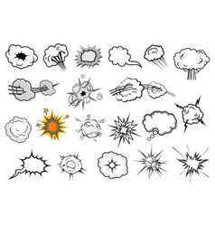 Cartoon comic explosion and speech elements vector