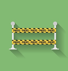 Icon of police barrier line danger tape flat style vector