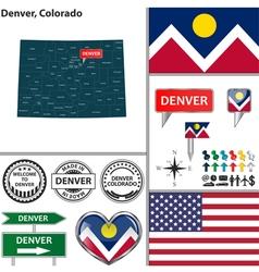 Denver Colorado set vector image