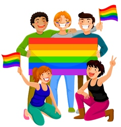 People with rainbow flags vector