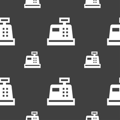 Cash register icon sign seamless pattern on a gray vector