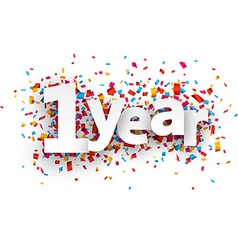 One year paper confetti sign vector