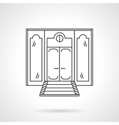 Store front door flat line icon vector