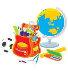 School satchel globe football vector